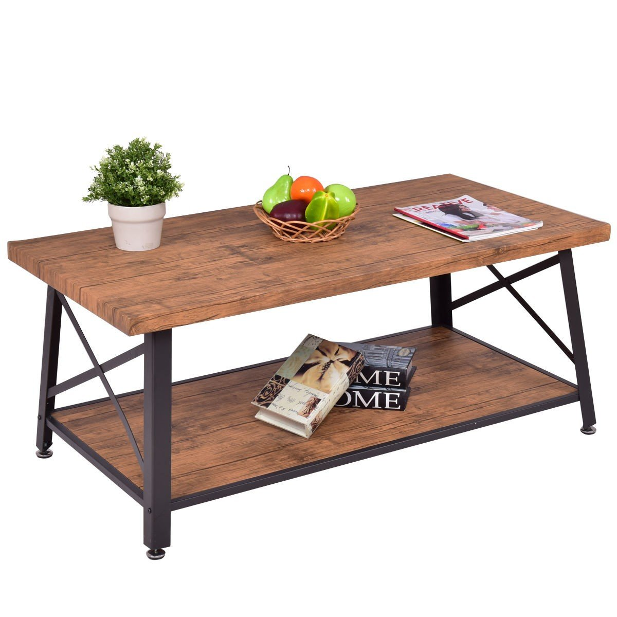 Rectangular metal frame wood coffee table with storage shelf by rectangular metal frame wood coffee table with storage shelf geotapseo Image collections