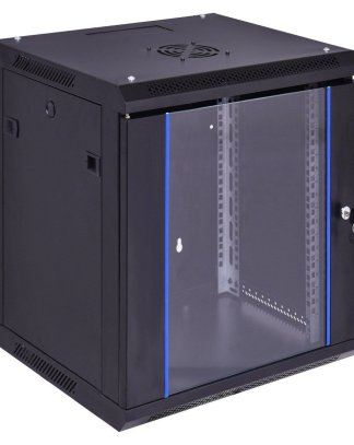 12U Wallmount Data Network Cabinet w/ Locking Glass Door