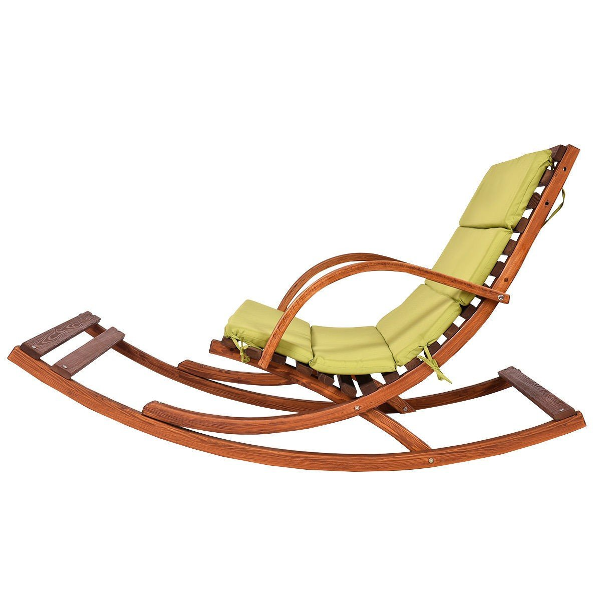 outdoor 2 persons rocking wooden lounge chair with cushion by