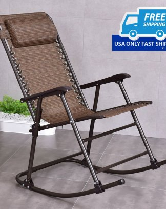 Patio Foldable Rocker Seat With Headrest