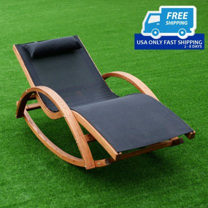 Rocking Outdoor Lounge Chair with Headrest