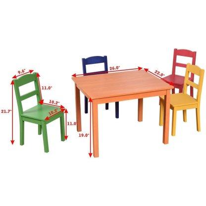 5 Pieces Kids Table Chair Set