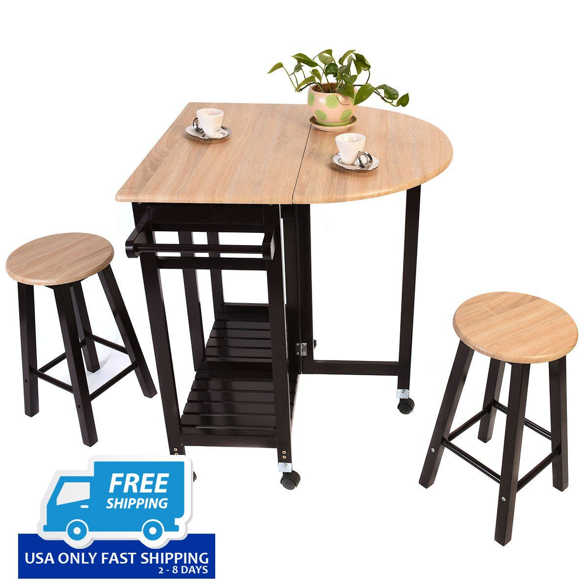 3 pcs Rolling Kitchen Island Cart with 2 Stools - By ...