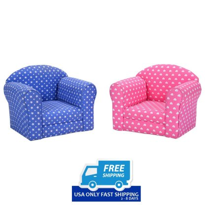 Heart-shaped Printed Armrest Children Couch 2 Colors