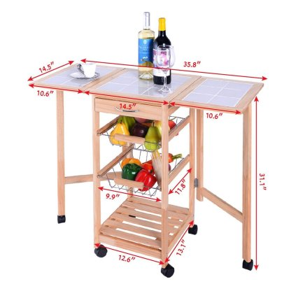 3-Tier Rolling Kitchen Trolley Cart
