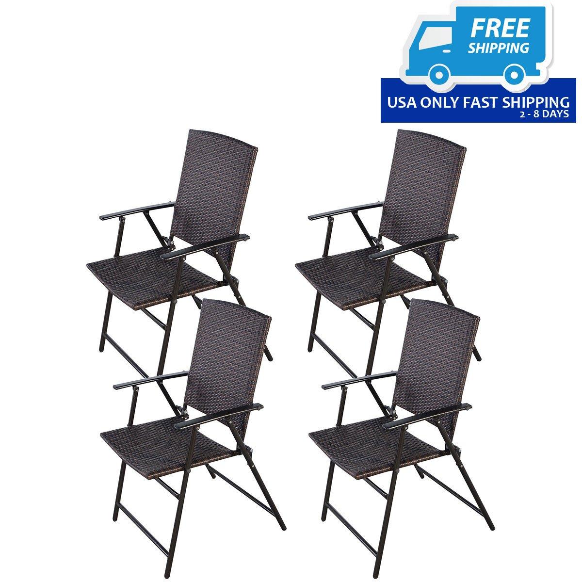 Set Of 4 Rattan Folding Chair