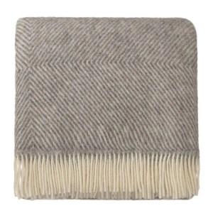 URBANARA Gotland Wool Blanket, Grey / Cream