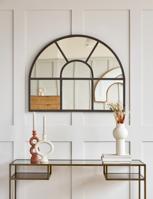 Rose & Grey Mantle Arch Paned Mirror