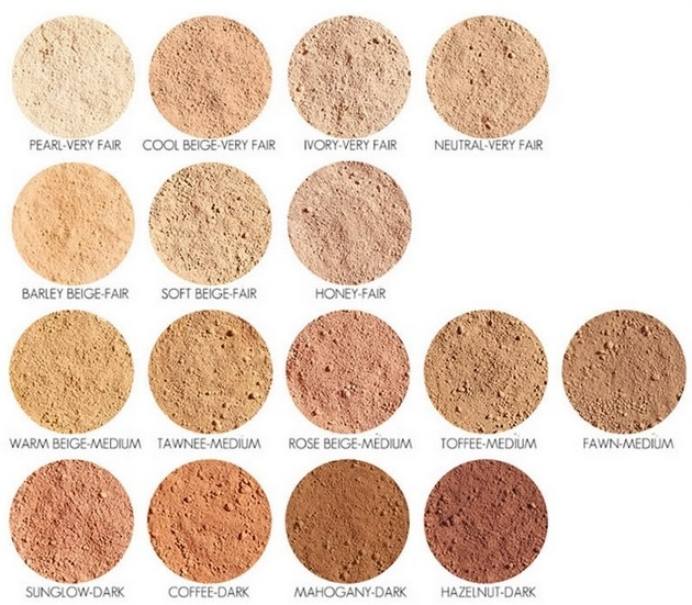 mineral foundation, Youngblood, farver