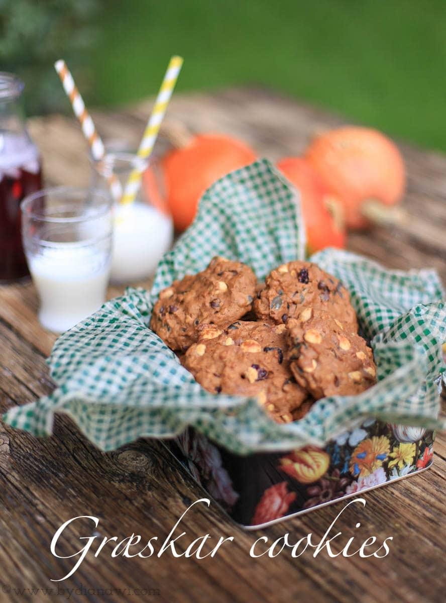 græskar cookies, chokolade, spelt, nødder, småkager