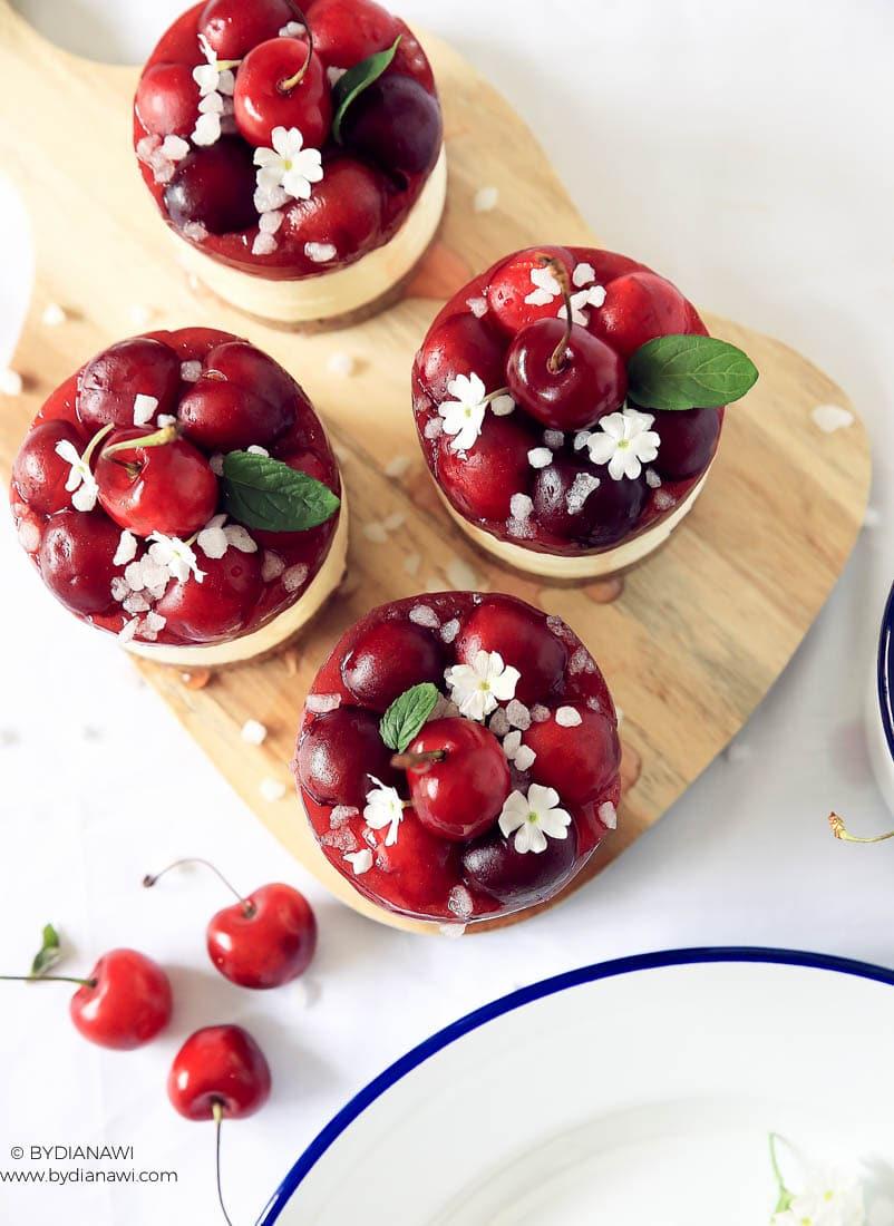 cheesecakes, kiksebund, kirsebær, nem kage, no-bake