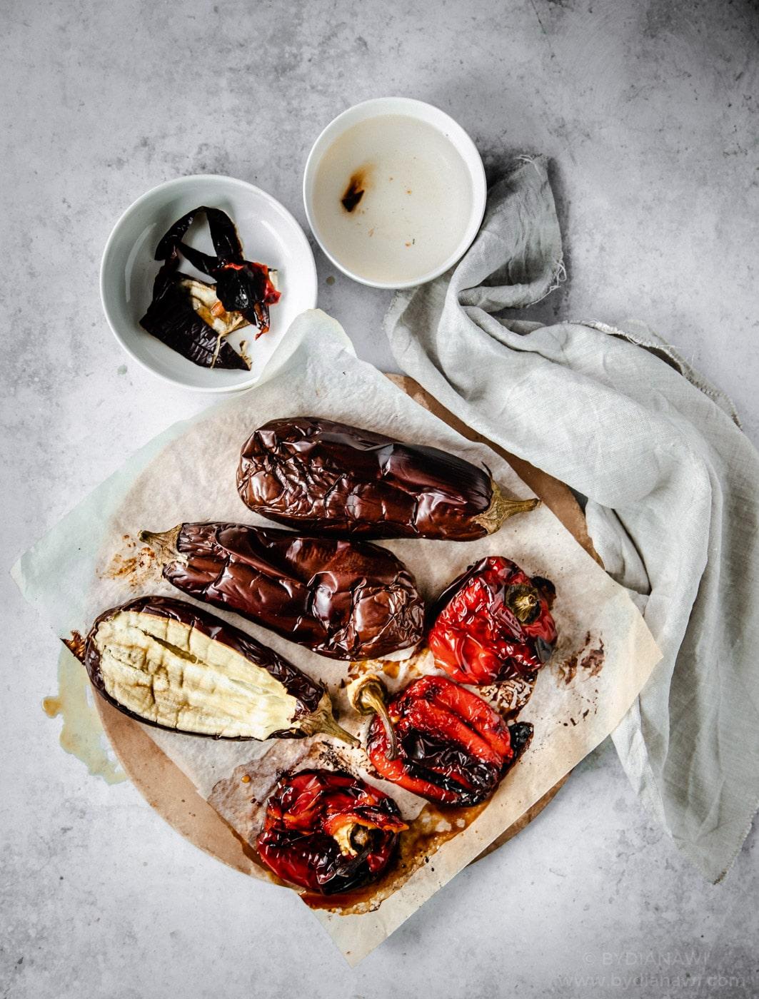 auberginesalat, opskrifter med aubergine, tilbehør til grill