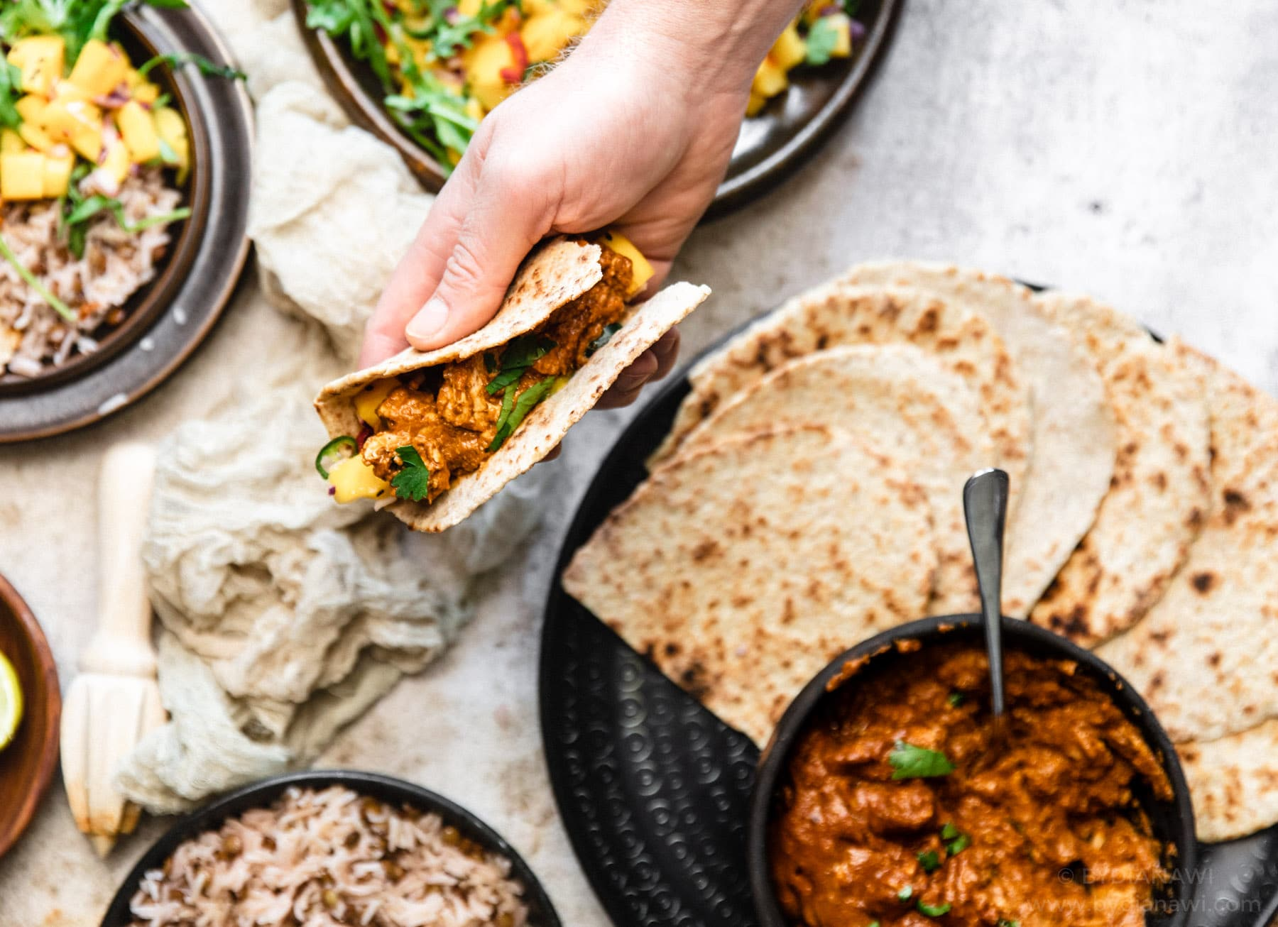 chapati, butter chicken, indisk flatbrød, indisk mad