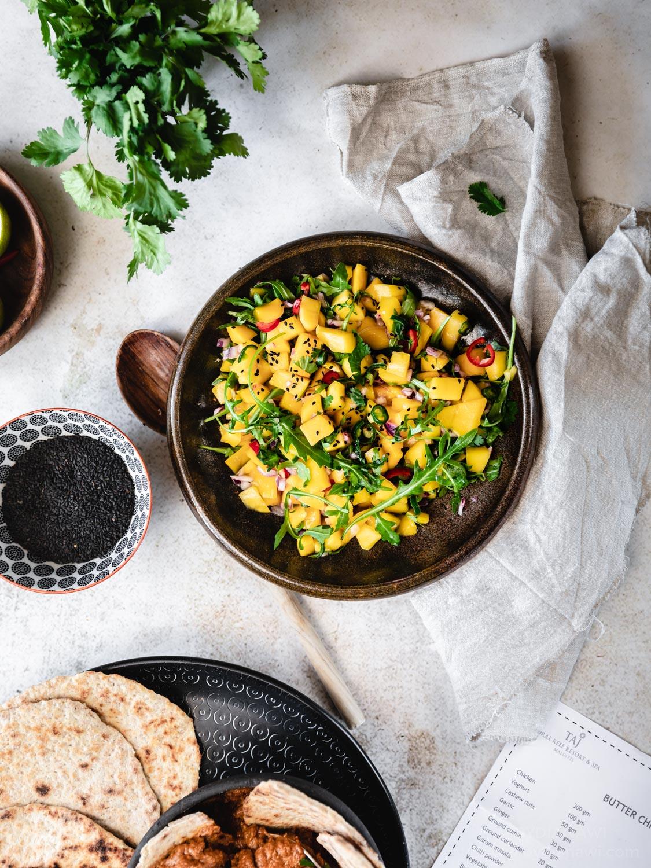 mango salat, mango salsa, salat til indisk mad
