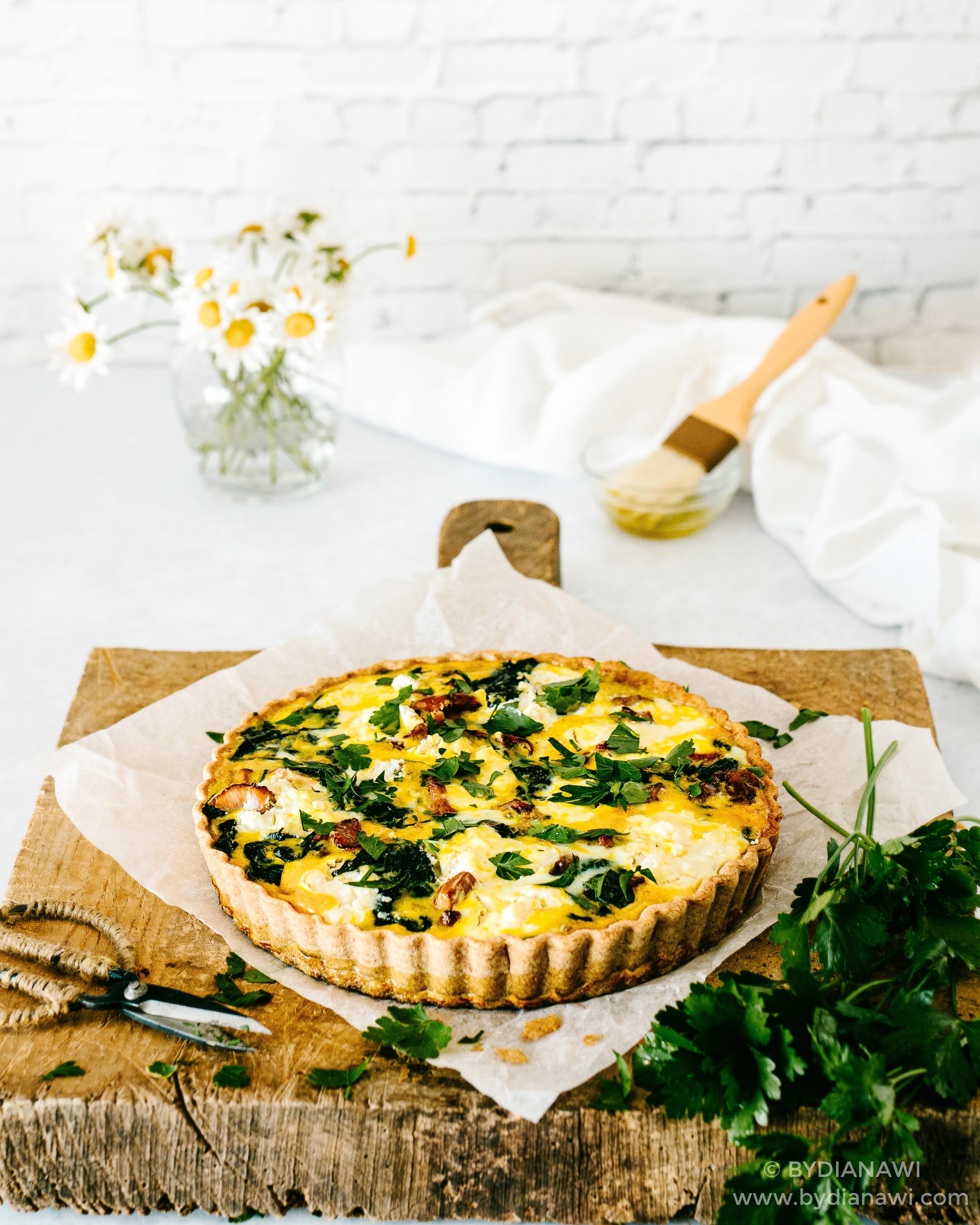 tærte med kantareller, spinat, ricotta ost, opskrift, madtærte