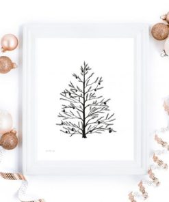 Naturlig jul - julekort i sort og hvitt - bye9design printshop