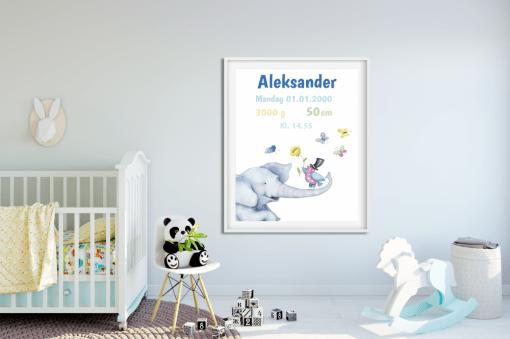 Fødselstavle - fødselsplakat - redigerbar tekst i herlige farger - bye9design