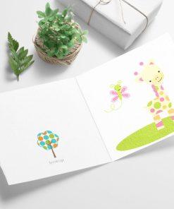 Giraffen - fargerikt barnekort til bursdag eller babyshower