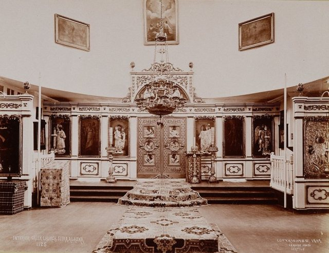 The interior of St. Michael's Cathedral, a Russian Orthodox church in Sitka, Alaska. 1892