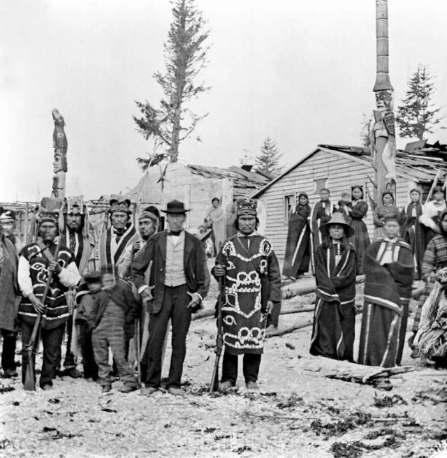 Inhabitants of the Tlingit village of Tongass, Alaska, 1868.