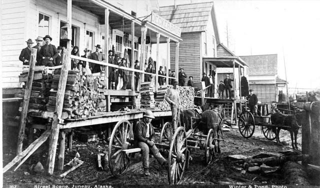 Juneau Street scene in Alaska, circa 1897.