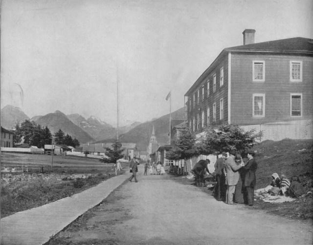 A Street in Sitka, Alaska', circa 1897.