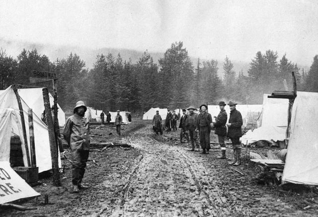 A row of tents marks the beginnings of Skagway, a boom town in the 'panhandle' part of Alaska, which sprang up following the gold rush in the Klondike, 1880s.