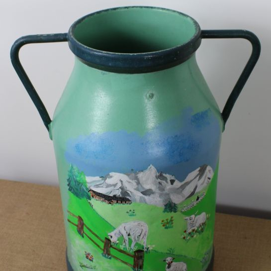 French Hand Painted Milk Churn