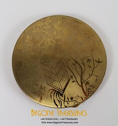 Rare Ladies Brass Powder Compact Birdcage Floral Acid Etched Design