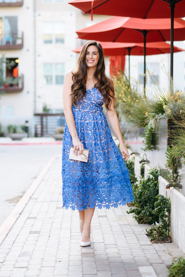 Blue lace dress for the elegant wedding guest
