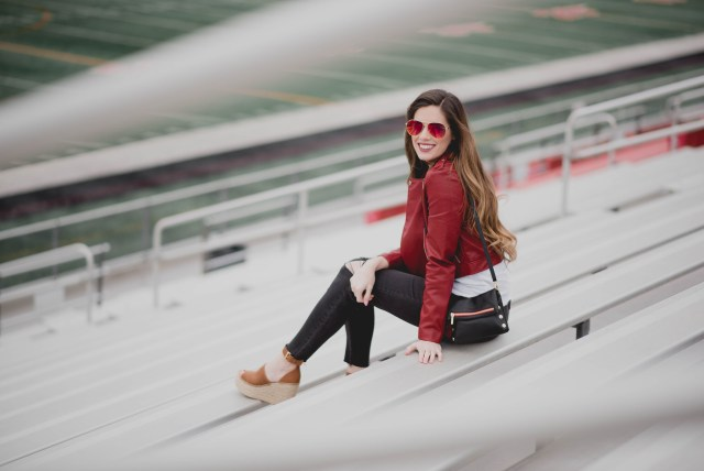 Atlanta falcons super bowl football gamed outfit nordstrom leather jacket ripped jeans and wedges | By, Hilary Rose | Game day style