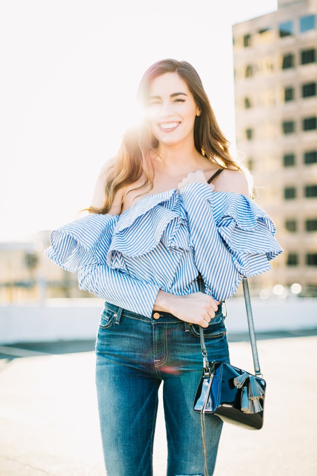 ruffles and tassels galore By, Hilary Rose Austin Blogger on the rooftop in Austin Texas