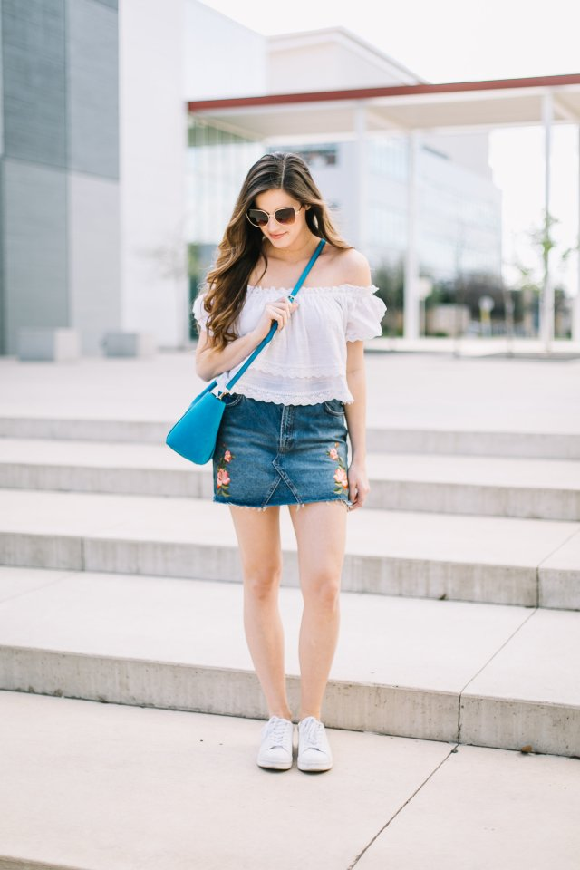 Rose denim skirt with a Henri Bendel bag and Franco Sarto sneakers in Austin Texas | Southern Blogger | By Hilary Rose