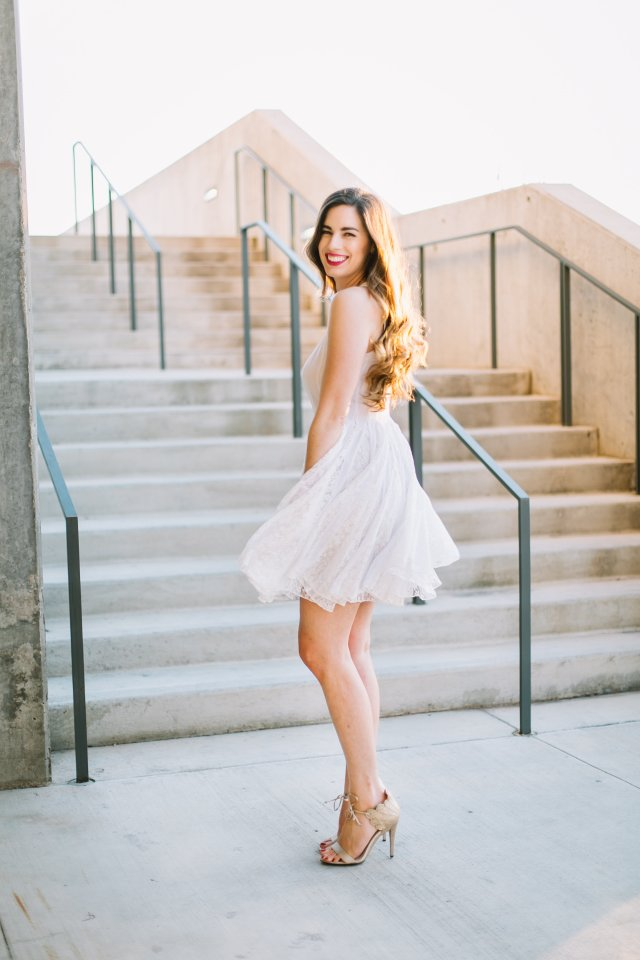By, Hilary Rose | White Summer Dress and Marilyn Monroe Vibes | White dress by ASOS and DSW gold glittery Nine West heels in Downtown Austin
