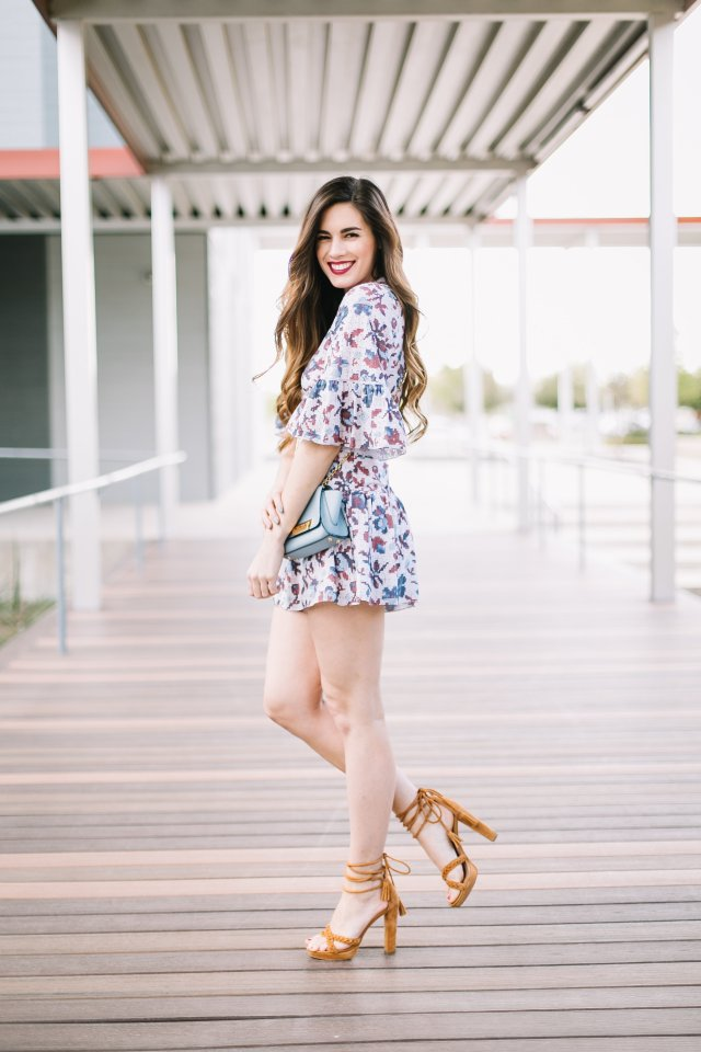 How to Rock the first day of spring in a floral romper from rent the runway and Joie heels | By Hilary Rose | Austin Blogger