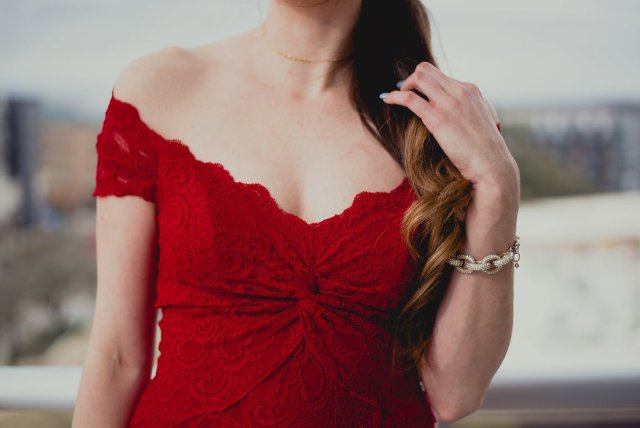 pretty woman red off shoulder lace dress from rent the runway at the Archer Hotel Austin at the Domain | By Hilary Rose blogger ATX