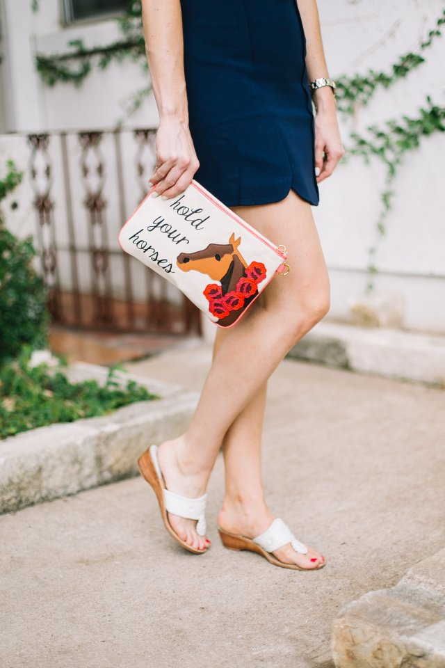 Derby Day Style with Draper James | Kentucky Derby Style | Polo Match | Large sunhat with graphic tee, navy skirt, and jack rogers sandals in Austin, TX
