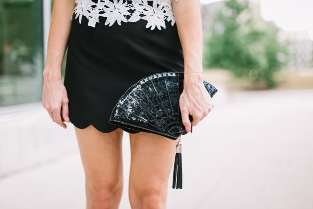 Black-and-white-a-unique-look-for-night-out-lace-one-shoulder-top-fan-clutch-rent-the-runway-scallop-skirt-and-lcae-up-heels-womens-fashion