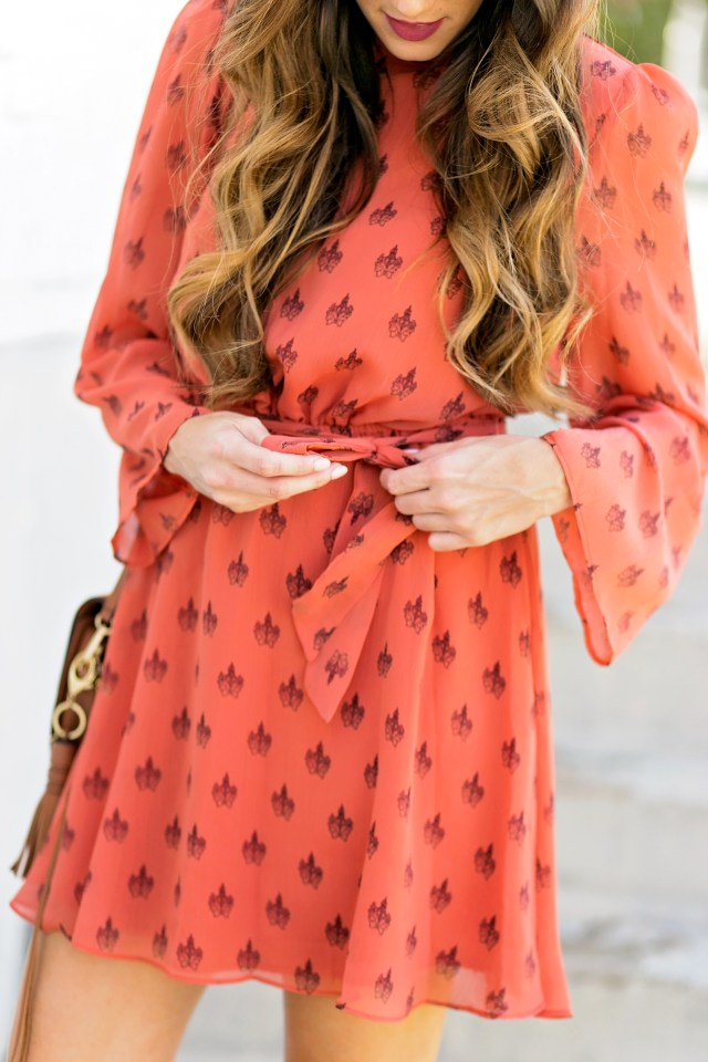 burnt orange dress for longhorn fans texas UT game day college outfit high neck dress with tie waist rebecca minkoff suki bag marc fisher wedges