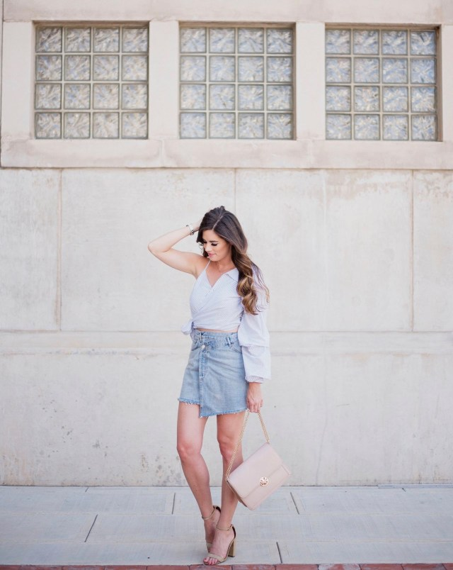 how to wear asymmetrical piece nordstrom denim skirt ASTR one sleeve blouse tory burch bag steve madden nude suede sandals downtown austin TX fall fashion ideas blogger style