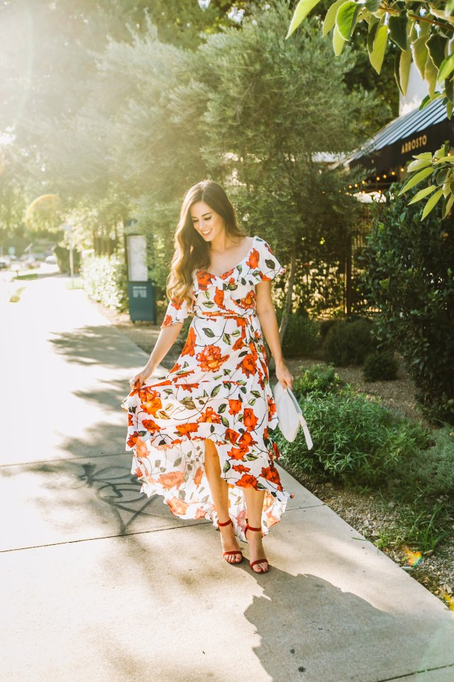 wedding guest dress rosy rose pattern fall winter wedding high low hem red sandals kelly wynne 6th st bag asymmetrical shoulder austin tx blog