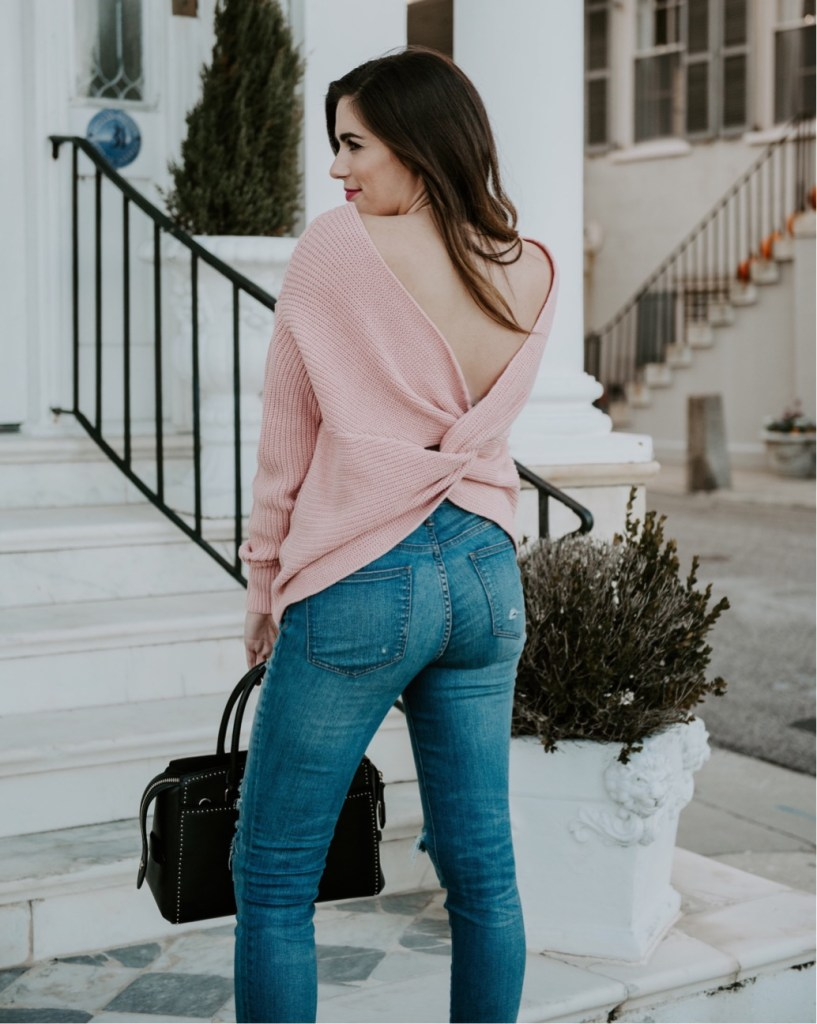 blush twist sweater the battery charleston south carolina henri bendel beaded embroidered bag steve madden carrson heels fall outfit style blogger southern