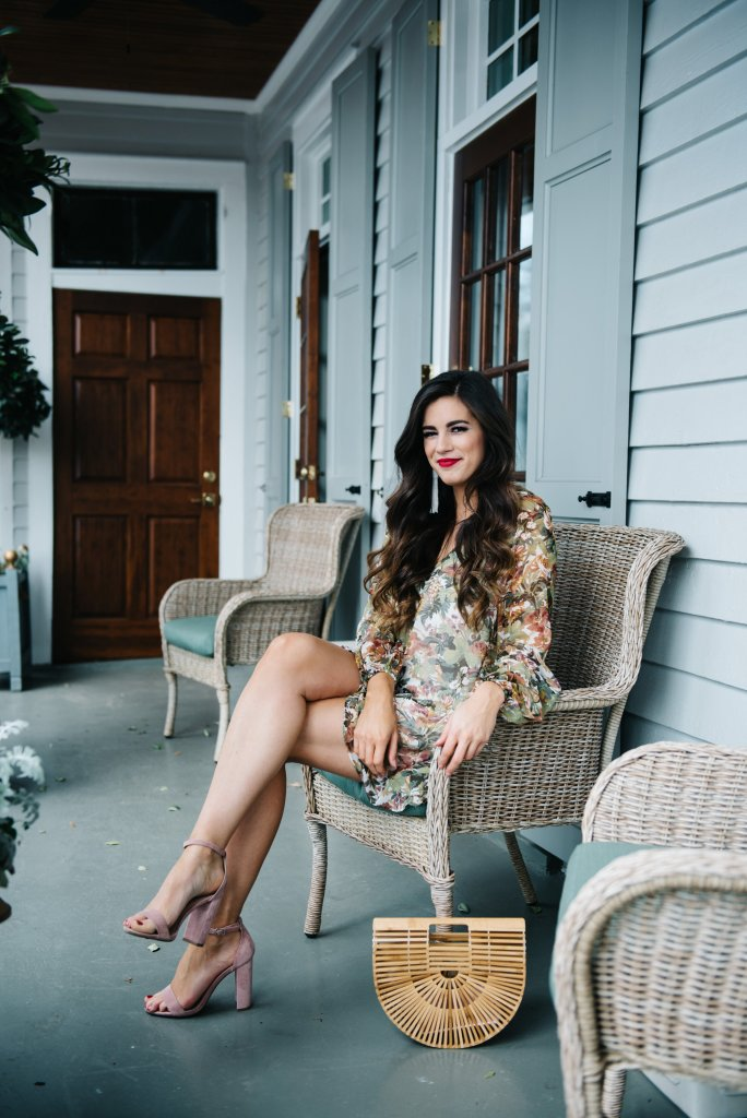 Charleston Porch Sitting in a Floral Mini Dress