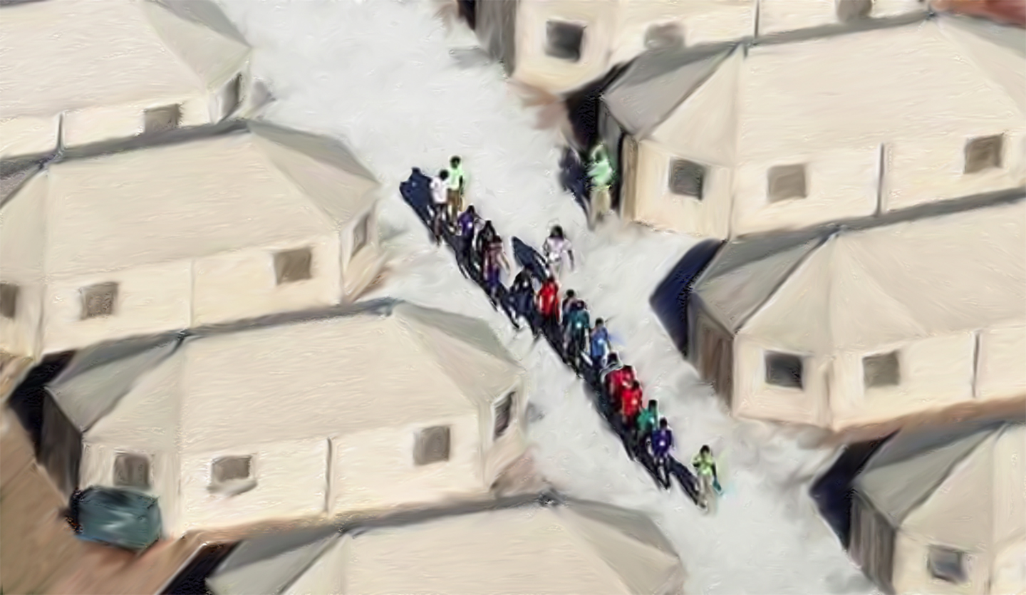 The tents in texas desert with immigrant children who have been torn from their parents are being held.