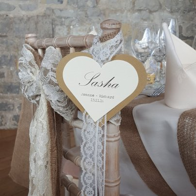 Kraft heart & lace place card for chair