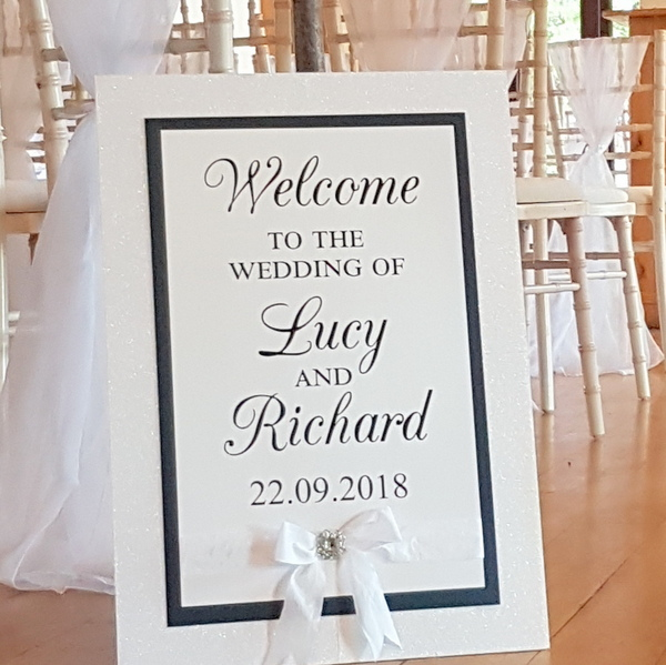 navy and white wedding welcome sign