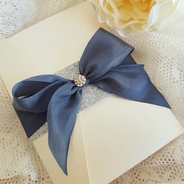 pocketfold invitation with slate grey silk bow and glitter