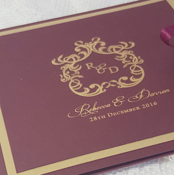 burgundy and gold monogram invitation