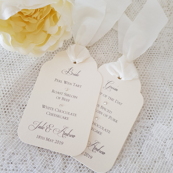 wedding menu tags with ivory silk ribbon