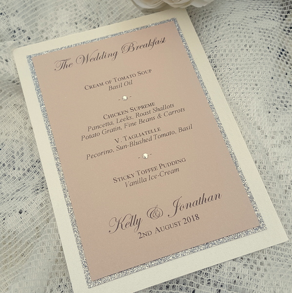 simple nude and ivory wedding menu